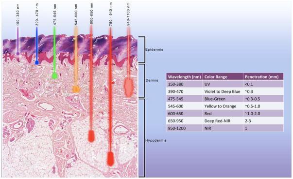 Penetracion tratamiento diferentes tipo de luz