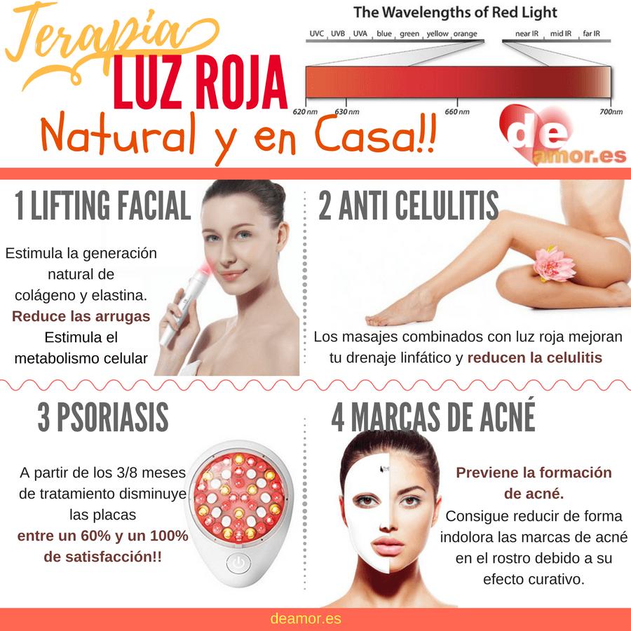 Beneficios terapia con luz roja para la piel.