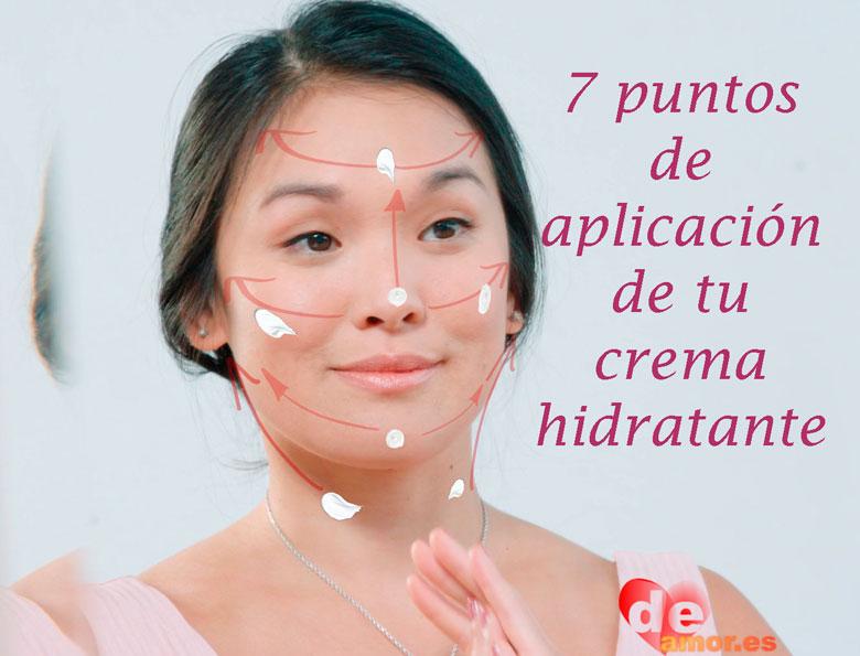 Siete puntos de aplicación de crema hidratante